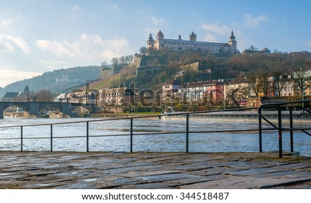 """Typical view of the old city of """"Wuerzburg"""" in Bavaria in the morning sun - stock photo"""