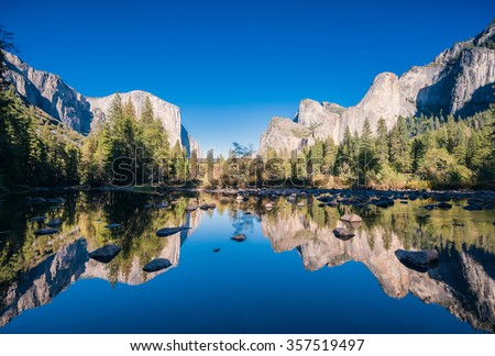 Typical view of the Yosemite National Park. - stock photo