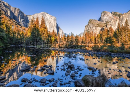 Typical view of the Yosemite National Park - stock photo
