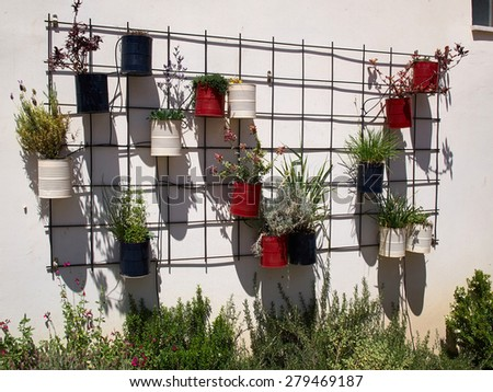 Typical wall planter pots  with flowers and plants hanged on a wall Tuscany Italy style                - stock photo