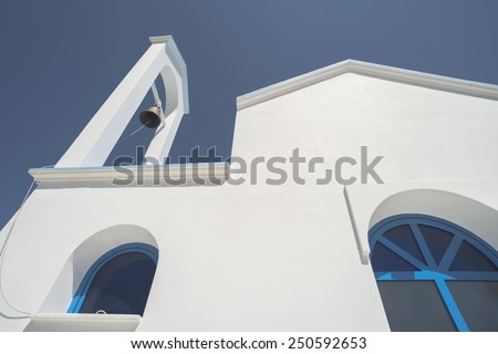 Typical white and blue Greek church. Greece - stock photo