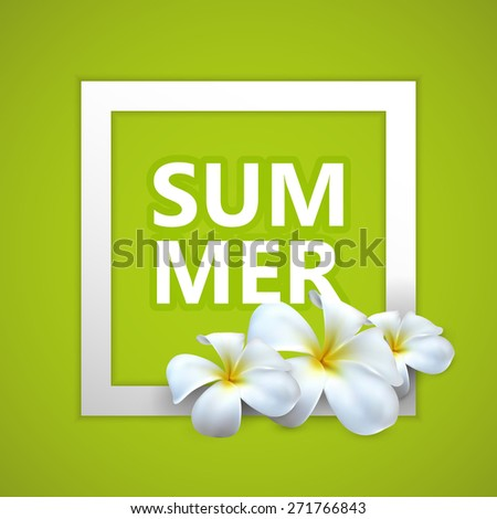 typographic illustration of Summer label with exotic frangipani flowers. postcard design - stock photo