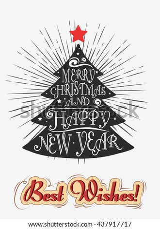 Typographical greeting card. Merry Christmas/Happy new year. Lettering. Can be used as a print  for posters and invitations. Vintage. Hand drawn/Element for design - stock photo