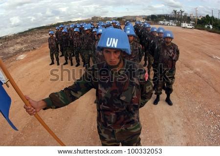 TYR, LEBANON-OCTOBER 21: Unidentified Turkish UN Soldiers on patrol on October 21, 2006 in Tyr, Lebanon - stock photo