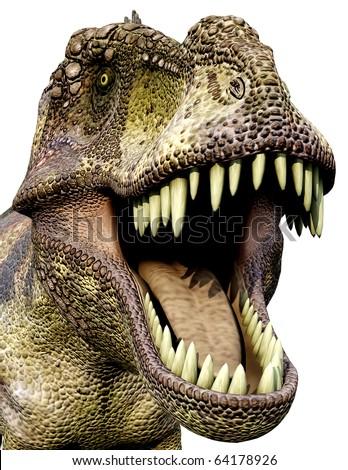 Tyrannosaurus green side close up - stock photo