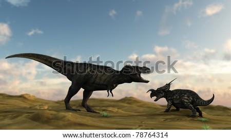 tyrannosaurus in desert attacking einiosaur - stock photo