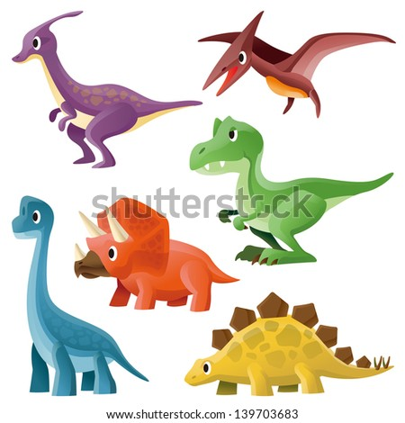Tyrannosaurus,Pterosaur,Hadrosaurid,Triceratops,Stegosaurus and Brontosaurus - stock photo