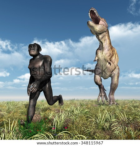 Tyrannosaurus Rex attacks Homo Habilis Computer generated 3D illustration - stock photo
