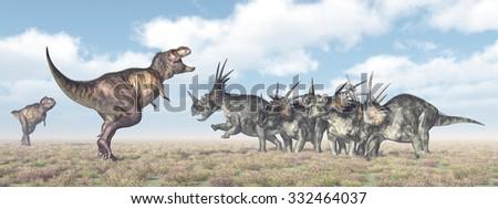 Tyrannosaurus Rex attacks Styracosaurus Computer generated 3D illustration - stock photo