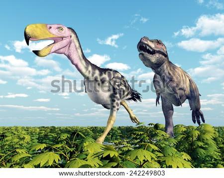 Tyrannosaurus Rex attacks the Terror Bird Kelenken Computer generated 3D illustration - stock photo