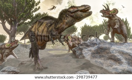Tyrannosaurus rex escaping from three triceratops attack next to aristata pine by day  - 3D render - stock photo