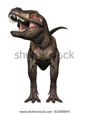 Tyrannosaurus Rex head on view. Teeth showing mouth open in warning position. Isolated clip art cutout on clean white background. - stock photo