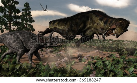 Tyrannosaurus rex roaring at a triceratops - 3D render - stock photo