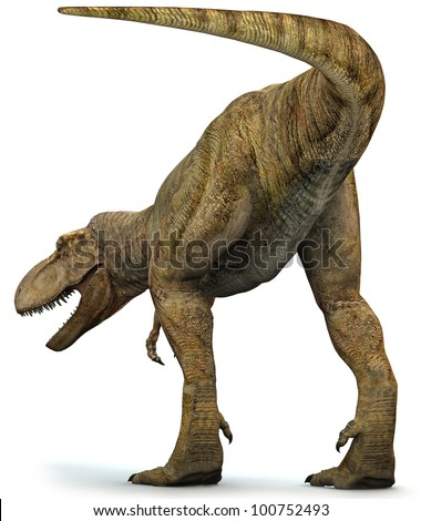 Tyrannosaurus Rex showing his tail end - stock photo