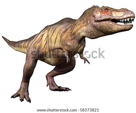 tyrannosaurus side attack - stock photo