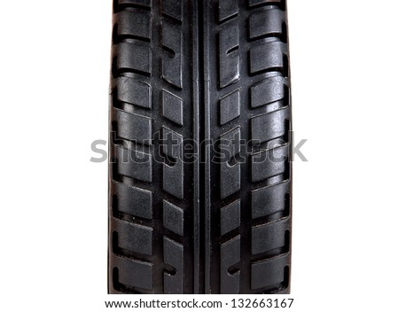 Tyre Closeup Isolated on the White Background - stock photo