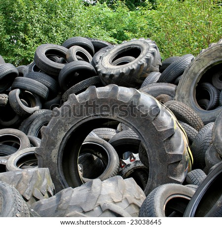 tyre heap in recycling plant in Germany - stock photo