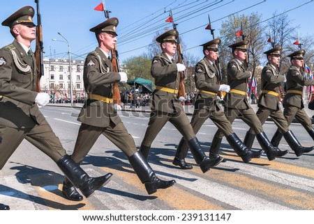 Tyumen, Russia - May 9. 2009: Parade of Victory Day in Tyumen. Soldiers of guard of honor march on parade - stock photo