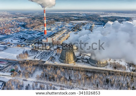 Tyumen, Russia - November 17, 2015: Aerial view on city power plant number 2 in winter season - stock photo