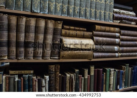 TYUMEN, RUSSIA. NOVEMBER 21, 2015. Vintage books on the shelves in a university library.  - stock photo