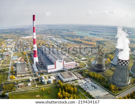 Tyumen, Russia - September 24, 2014: Aerial view on City Energy and Warm Power Factory - stock photo
