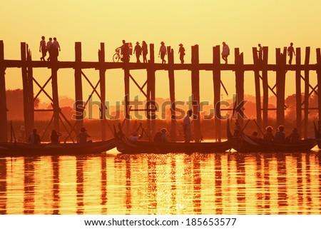 U Bein Bridge at sunset. Amarapura, Myanmar. Canon 5D Mk II. - stock photo