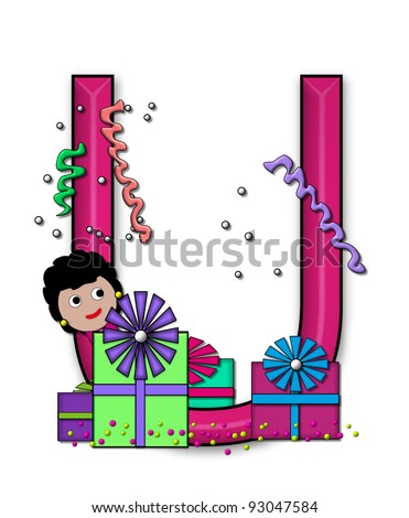 """U, in the alphabet set """"Birthday Letters"""", is surrounded by colorfully wrapped presents complete with bows.  Woman hides behind presents and peeks out pretending surprise. - stock photo"""
