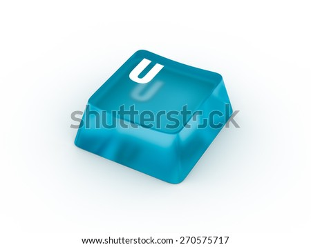 U Letter on transparent blue keyboard button - stock photo