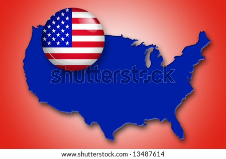 u.s.a. button over a blue map of united states - stock photo