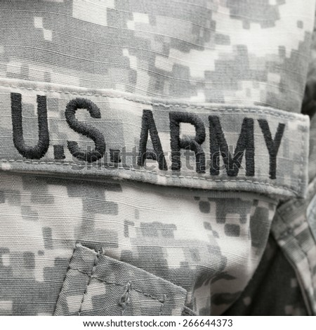 U.S. Army patch on solder uniform - stock photo