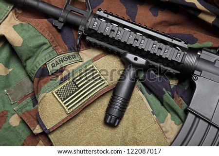 U.S. Army Ranger Woodland Camo BDU With The Tactical Carbine On It. - stock photo