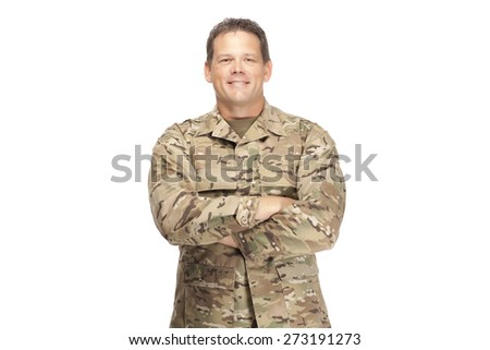 U.S. Army Soldier, Sergeant, Arms Crossed and Smiling - stock photo