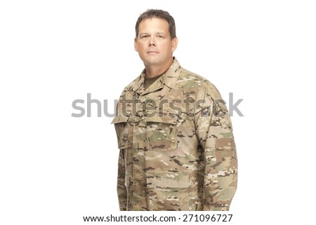 U.S. Army Soldier, Sergeant, Serious - stock photo