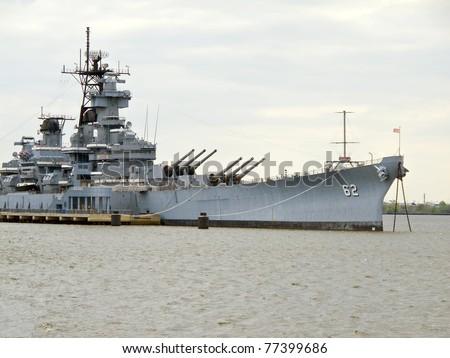 U S  Battleship docked in New
