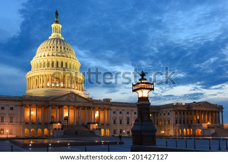 U.S. Capitol at night - Washington D.C. United States  - stock photo