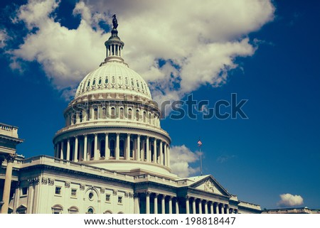 U.S. Capitol in Washington D.C. with filter effect applied - stock photo