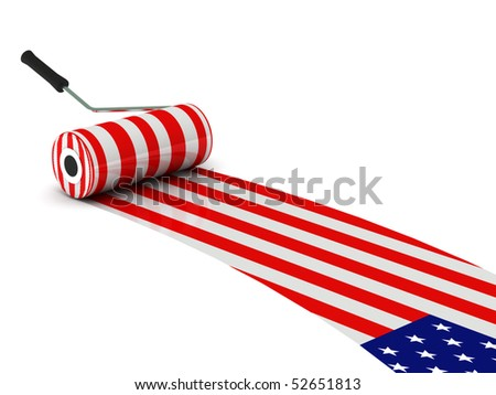 U.S. construction. USA flag paint roller isolated on white background. High quality 3d render. - stock photo