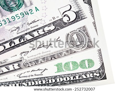 U.S. $ dollar money stacked, isolated on white. - stock photo