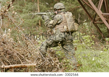 U.S. Marine corps Soldier is ready to fight - stock photo