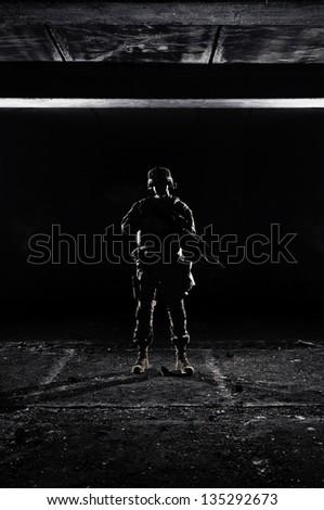 U.S. Marines at dark - stock photo