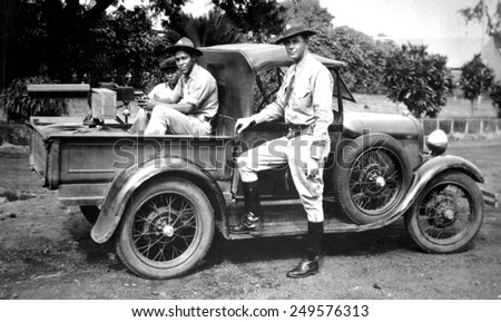 U.S. Marines in Nicaragua in 1932. Heavy Browning Machine Gun is mounted on a car in preparation for U.S. Supervision of 1932 Presidential Election and Inauguration of Liberal President Juan Sacasas. - stock photo