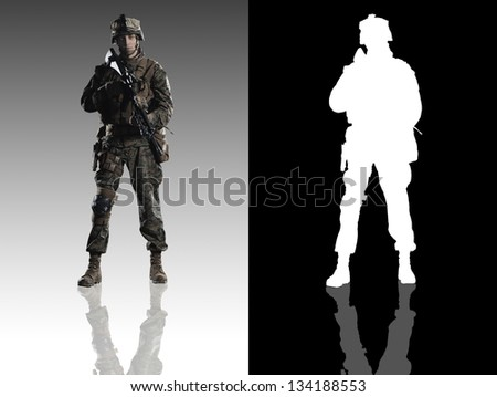 U.S. military marine. Studio shooting. With alpha channel. frontal pose with reflections. - stock photo