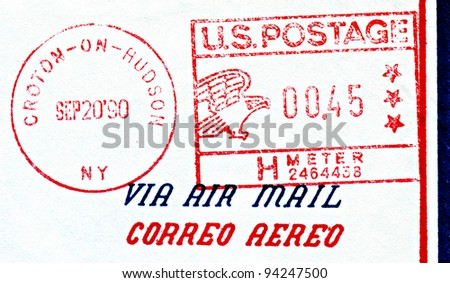 U.S. postage stamp and Croton-on-Hudson, NY stamp dated September 20, 1990. - stock photo