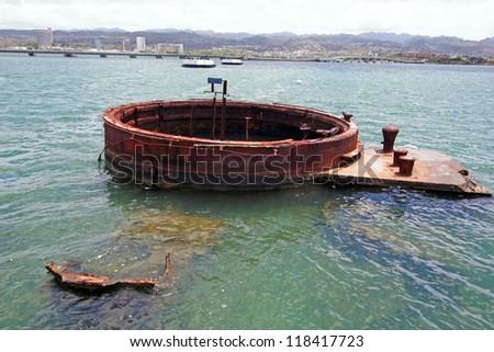 U.S.S. Arizona, Pearl Harbor, Hawaii - stock photo