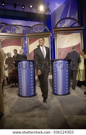 U.S. Senator and Presidential Candidate Barak Obama leaving stage of Iowa Democratic Presidential Debate, Drake University, Des Moines, Iowa, August 19, 2007 - stock photo