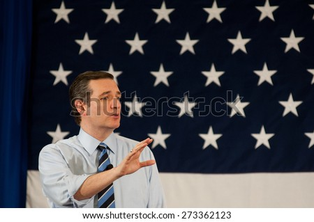 U.S. Senator Ted Cruz, Republican of Texas, speaks in Nashua, New Hampshire, USA, on April 18, 2015. - stock photo