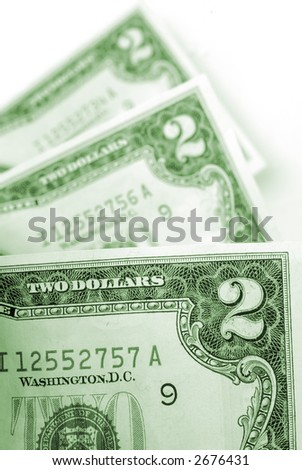 U.S. Two Dollar Bills with Shallow Depth of Field - stock photo