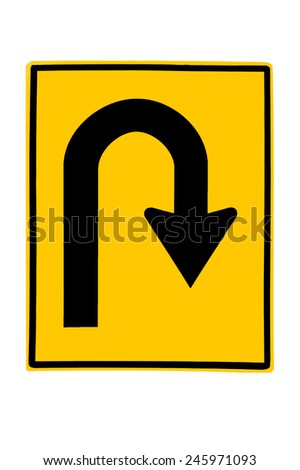 U-Turn Roadsign - Yellow road sign with turn symbol isolated on white background - stock photo
