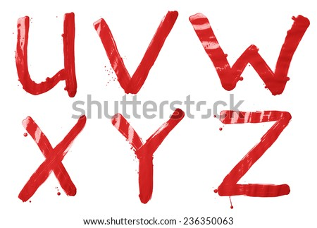 U, V, W, X, Y, Z letter character set of a hand drawn with the oil paint brush strokes, isolated over the white background - stock photo