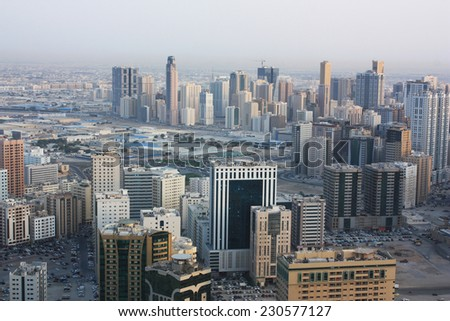 UAE, Arial view from skyscraper - stock photo